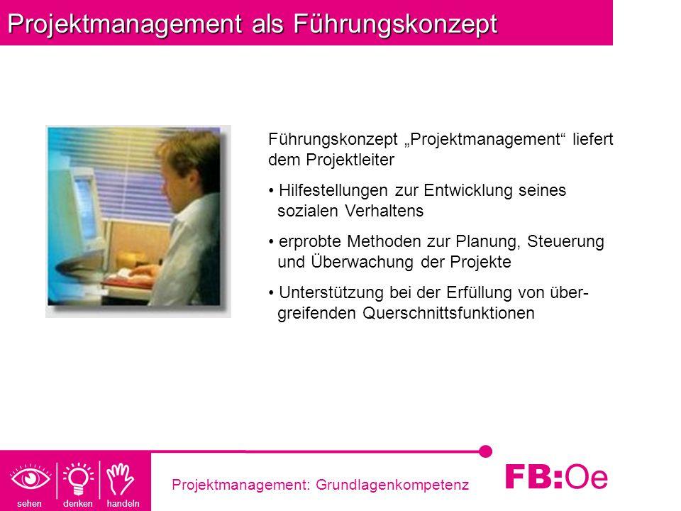 sehen denken handeln FB: Oe Projektmanagement: Grundlagenkompetenz Projektmanagement als Führungskonzept Führungskonzept Projektmanagement liefert dem