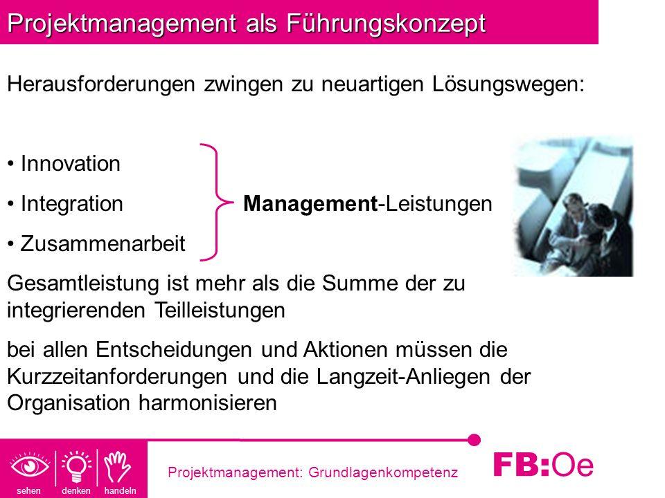 sehen denken handeln FB: Oe Projektmanagement: Grundlagenkompetenz Projektmanagement als Führungskonzept Herausforderungen zwingen zu neuartigen Lösun