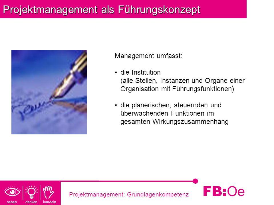 sehen denken handeln FB: Oe Projektmanagement: Grundlagenkompetenz Projektmanagement als Führungskonzept Management umfasst: die Institution (alle Ste