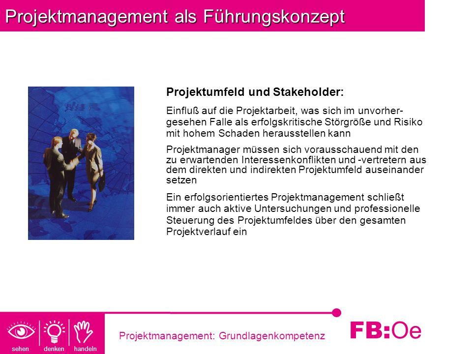 sehen denken handeln FB: Oe Projektmanagement: Grundlagenkompetenz Projektmanagement als Führungskonzept Projektumfeld und Stakeholder: Einfluß auf di