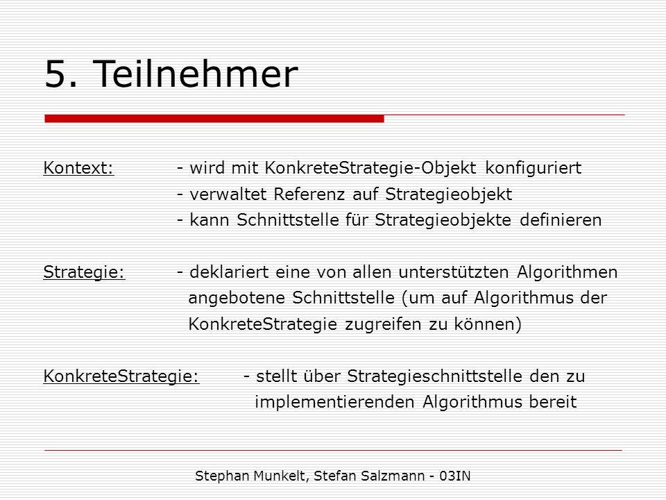 5. Teilnehmer Stephan Munkelt, Stefan Salzmann - 03IN Kontext:- wird mit KonkreteStrategie-Objekt konfiguriert - verwaltet Referenz auf Strategieobjek