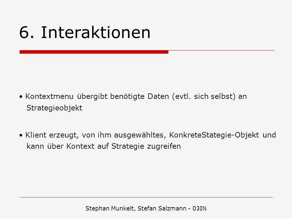 6. Interaktionen Stephan Munkelt, Stefan Salzmann - 03IN Kontextmenu übergibt benötigte Daten (evtl. sich selbst) an Strategieobjekt Klient erzeugt, v