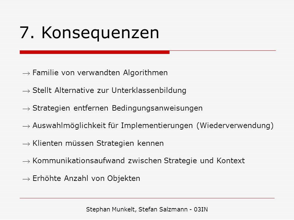 7. Konsequenzen Stephan Munkelt, Stefan Salzmann - 03IN Familie von verwandten Algorithmen Stellt Alternative zur Unterklassenbildung Strategien entfe