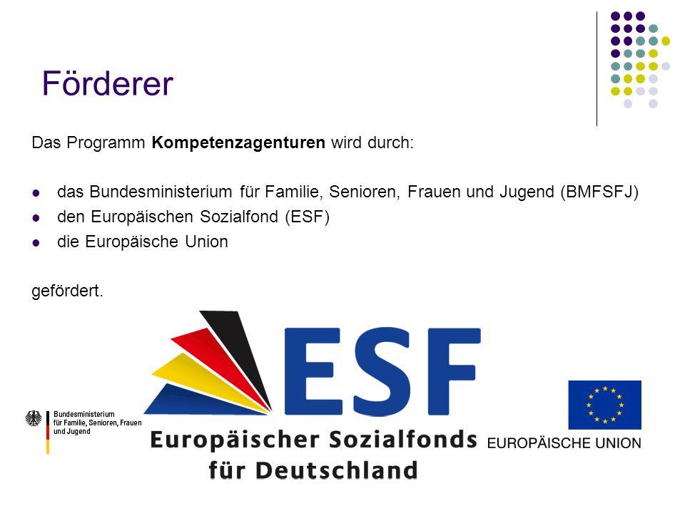 Förderer Das Programm Kompetenzagenturen wird durch: das Bundesministerium für Familie, Senioren, Frauen und Jugend (BMFSFJ) den Europäischen Sozialfo
