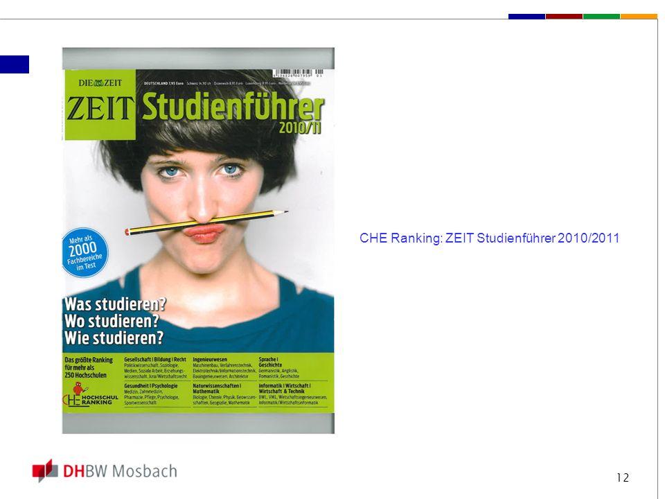12 CHE Ranking: ZEIT Studienführer 2010/2011