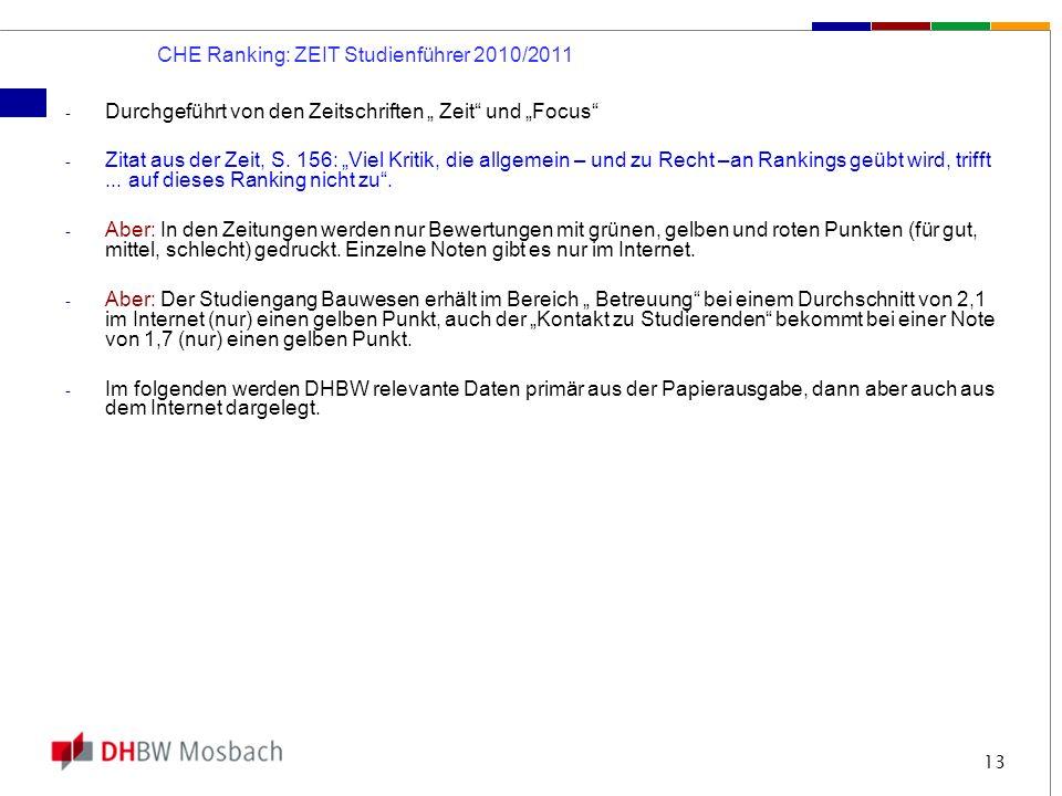 13 CHE Ranking: ZEIT Studienführer 2010/2011 - Durchgeführt von den Zeitschriften Zeit und Focus - Zitat aus der Zeit, S. 156: Viel Kritik, die allgem
