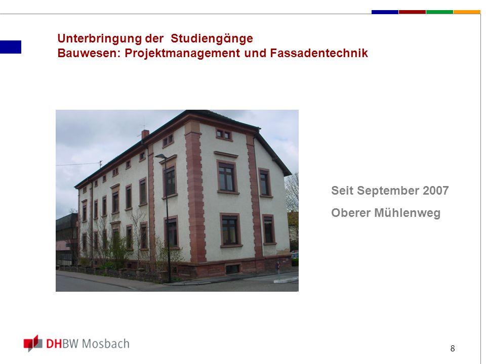 8 Unterbringung der Studieng ä nge Bauwesen: Projektmanagement und Fassadentechnik Seit September 2007 Oberer Mühlenweg