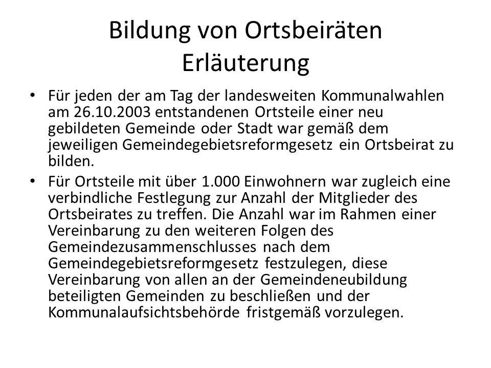 Bildung von Ortsbeiräten Erläuterung Für jeden der am Tag der landesweiten Kommunalwahlen am 26.10.2003 entstandenen Ortsteile einer neu gebildeten Ge