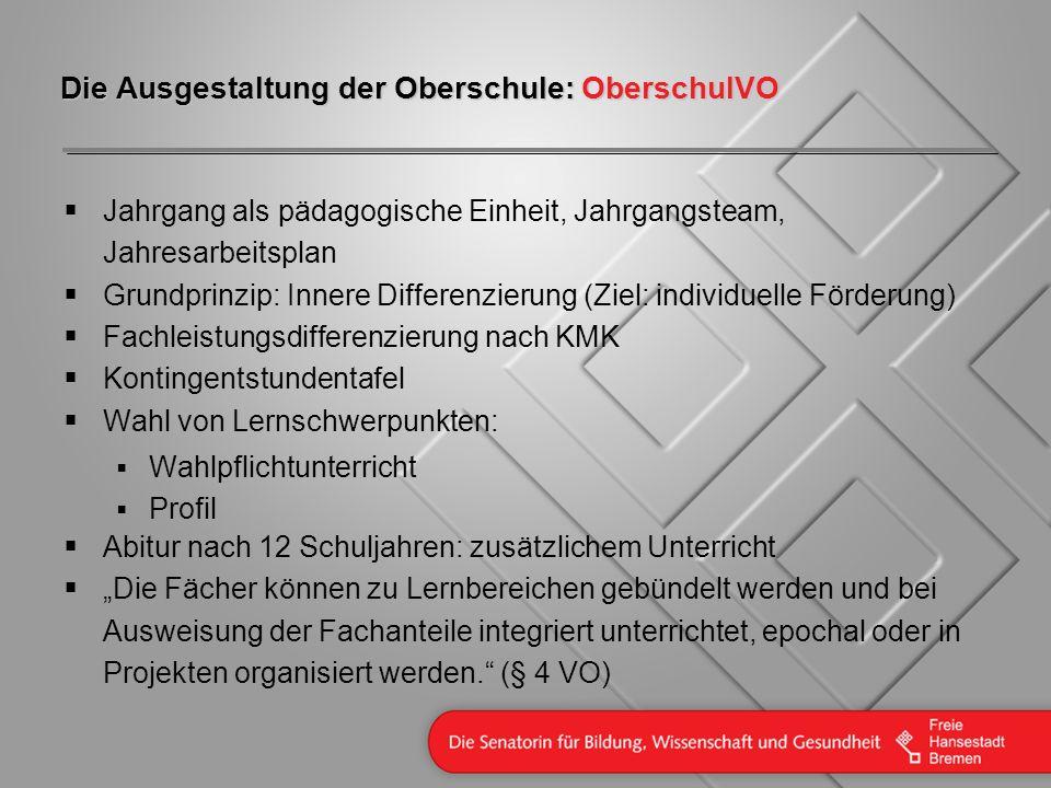 Die Ausgestaltung der Oberschule: OberschulVO Jahrgang als pädagogische Einheit, Jahrgangsteam, Jahresarbeitsplan Grundprinzip: Innere Differenzierung