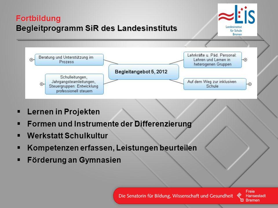 Fortbildung Begleitprogramm SiR des Landesinstituts Lernen in Projekten Formen und Instrumente der Differenzierung Werkstatt Schulkultur Kompetenzen e