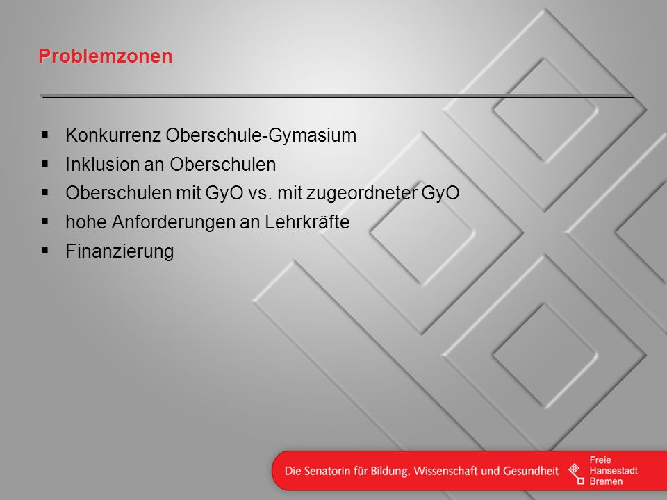 Problemzonen Konkurrenz Oberschule-Gymasium Inklusion an Oberschulen Oberschulen mit GyO vs. mit zugeordneter GyO hohe Anforderungen an Lehrkräfte Fin