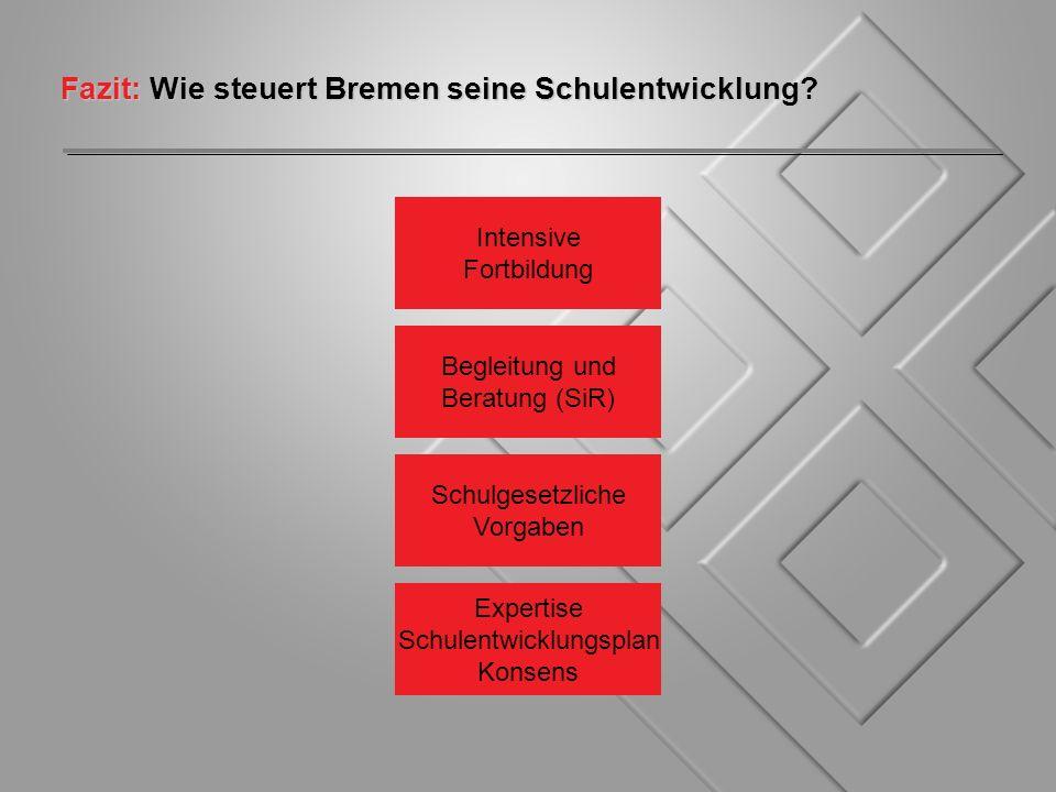 Fazit: Wie steuert Bremen seine Schulentwicklung? Expertise Schulentwicklungsplan Konsens Begleitung und Beratung (SiR) Intensive Fortbildung Schulges
