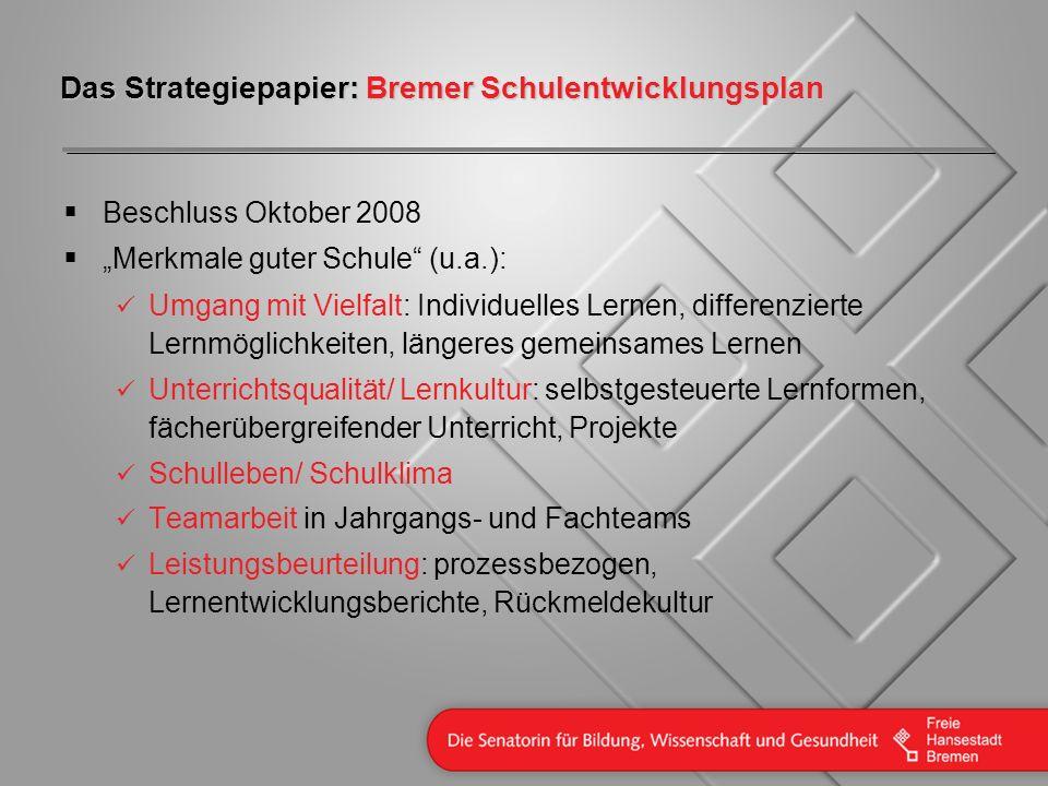 Das Strategiepapier: Bremer Schulentwicklungsplan Beschluss Oktober 2008 Merkmale guter Schule (u.a.): Umgang mit Vielfalt: Individuelles Lernen, diff