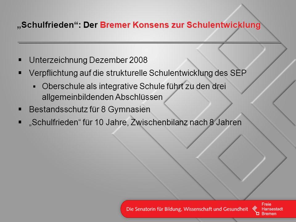 Schulfrieden: Der Bremer Konsens zur Schulentwicklung Unterzeichnung Dezember 2008 Verpflichtung auf die strukturelle Schulentwicklung des SEP Obersch