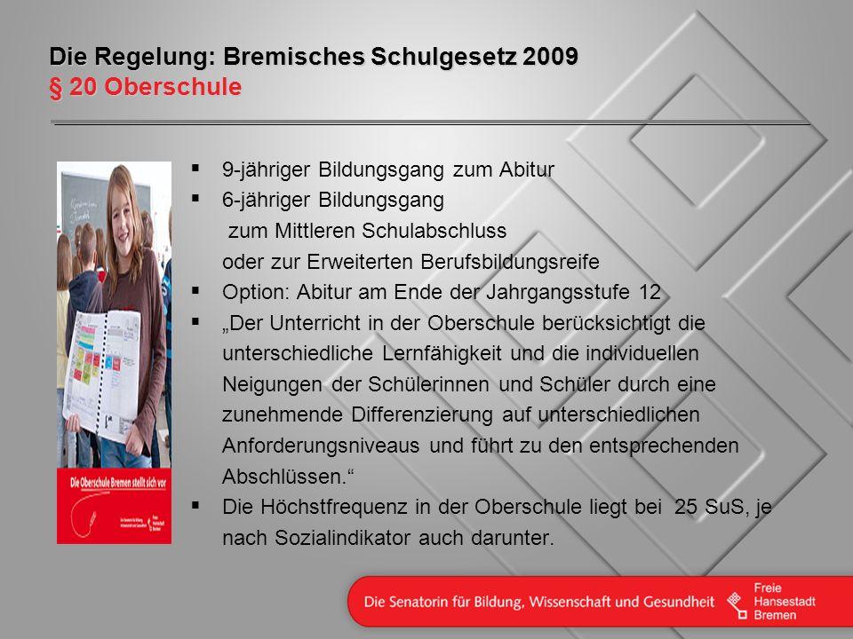 Die Regelung: Bremisches Schulgesetz 2009 § 20 Oberschule 9-jähriger Bildungsgang zum Abitur 6-jähriger Bildungsgang zum Mittleren Schulabschluss oder