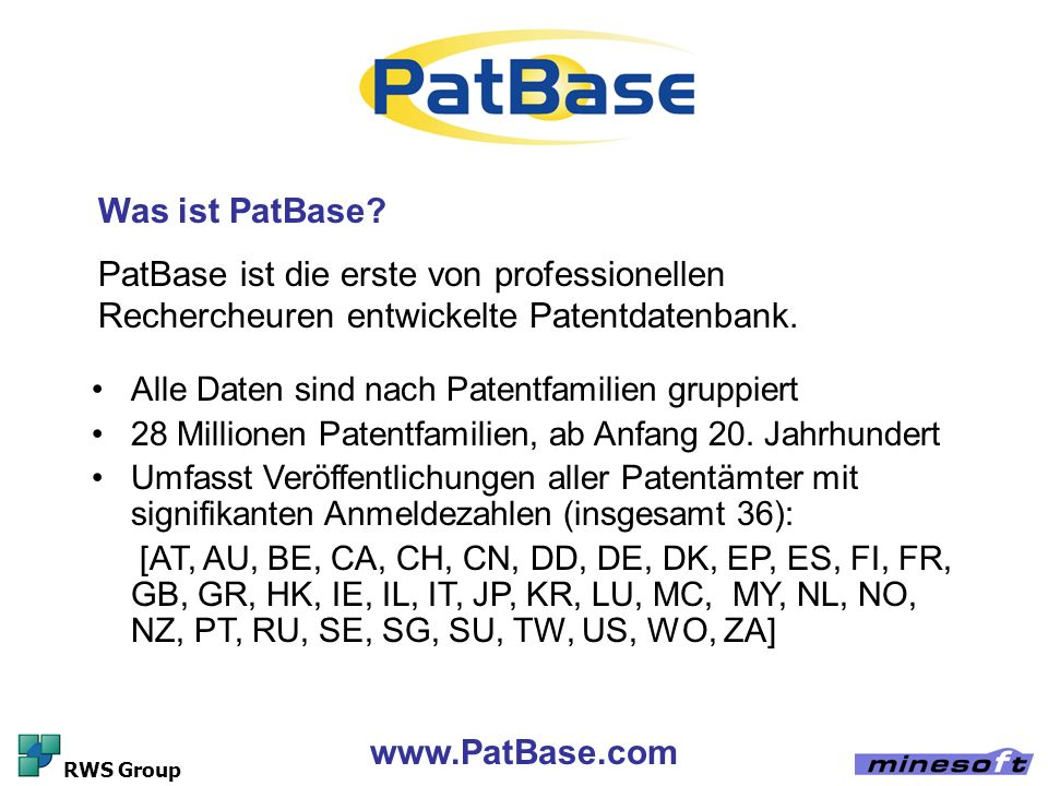 www.PatBase.com RWS Group Analyse-Tools