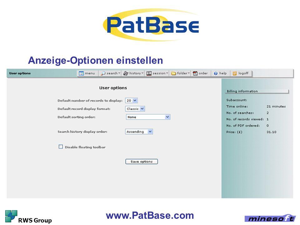 www.PatBase.com RWS Group Anzeige-Optionen einstellen
