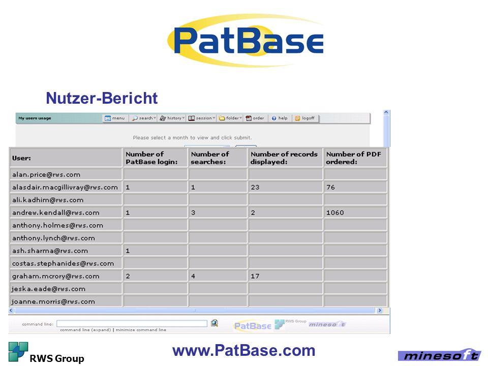 www.PatBase.com RWS Group Nutzer-Bericht