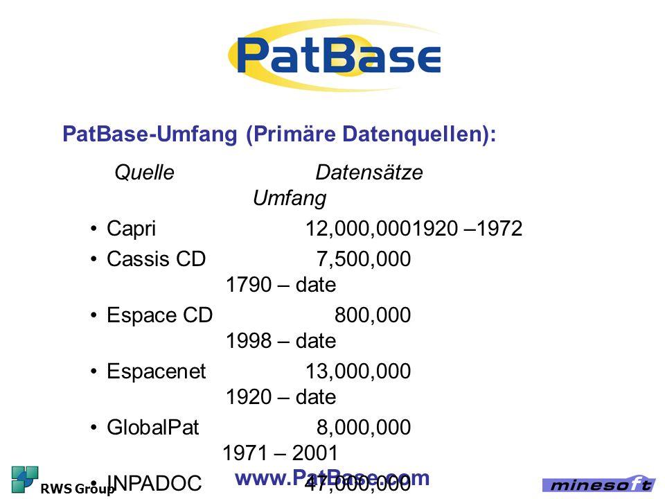 www.PatBase.com RWS Group Quelle Datensätze Umfang Capri12,000,0001920 –1972 Cassis CD7,500,000 1790 – date Espace CD800,000 1998 – date Espacenet13,0