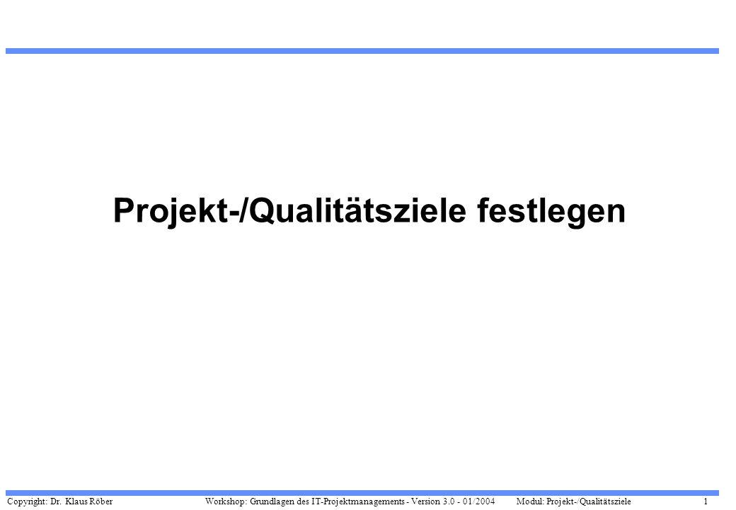 Copyright: Dr. Klaus Röber 1 Workshop: Grundlagen des IT-Projektmanagements - Version 3.0 - 01/2004Modul: Projekt-/Qualitätsziele Projekt-/Qualitätszi