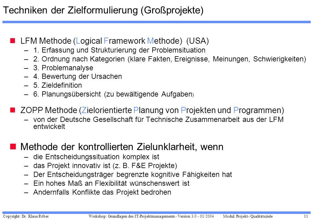 Copyright: Dr. Klaus Röber 11 Workshop: Grundlagen des IT-Projektmanagements - Version 3.0 - 01/2004Modul: Projekt-/Qualitätsziele Techniken der Zielf