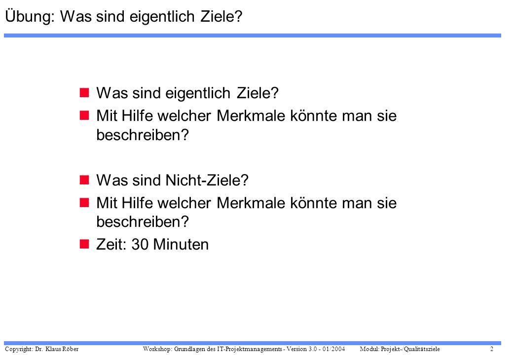 Copyright: Dr. Klaus Röber 2 Workshop: Grundlagen des IT-Projektmanagements - Version 3.0 - 01/2004Modul: Projekt-/Qualitätsziele Übung: Was sind eige