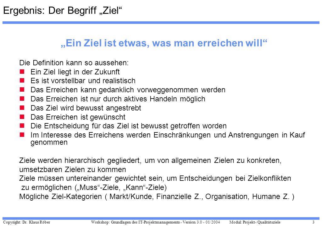 Copyright: Dr. Klaus Röber 3 Workshop: Grundlagen des IT-Projektmanagements - Version 3.0 - 01/2004Modul: Projekt-/Qualitätsziele Ergebnis: Der Begrif
