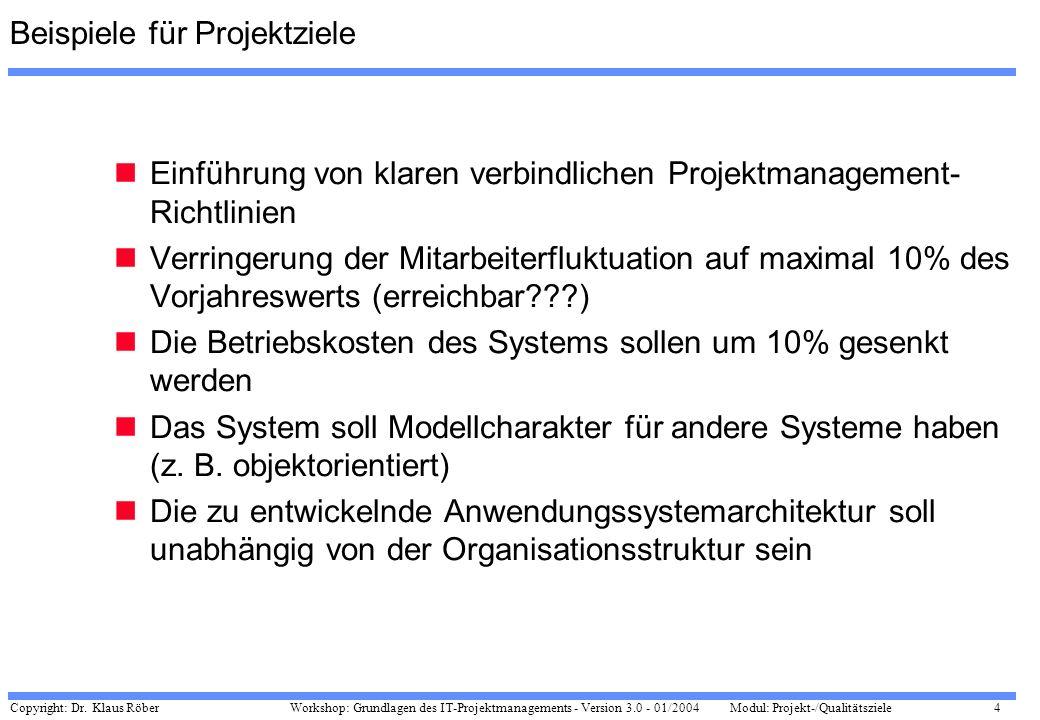 Copyright: Dr. Klaus Röber 4 Workshop: Grundlagen des IT-Projektmanagements - Version 3.0 - 01/2004Modul: Projekt-/Qualitätsziele Beispiele für Projek