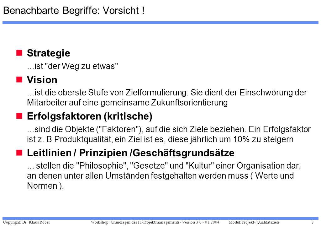 Copyright: Dr. Klaus Röber 8 Workshop: Grundlagen des IT-Projektmanagements - Version 3.0 - 01/2004Modul: Projekt-/Qualitätsziele Benachbarte Begriffe