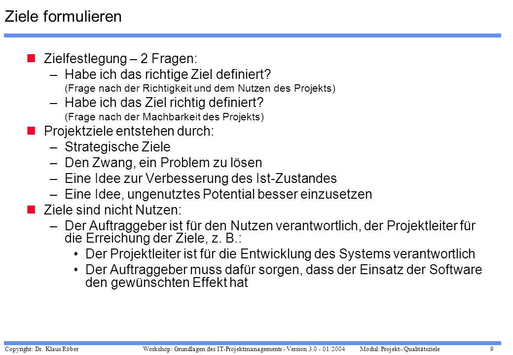 Copyright: Dr. Klaus Röber 9 Workshop: Grundlagen des IT-Projektmanagements - Version 3.0 - 01/2004Modul: Projekt-/Qualitätsziele Ziele formulieren Zi