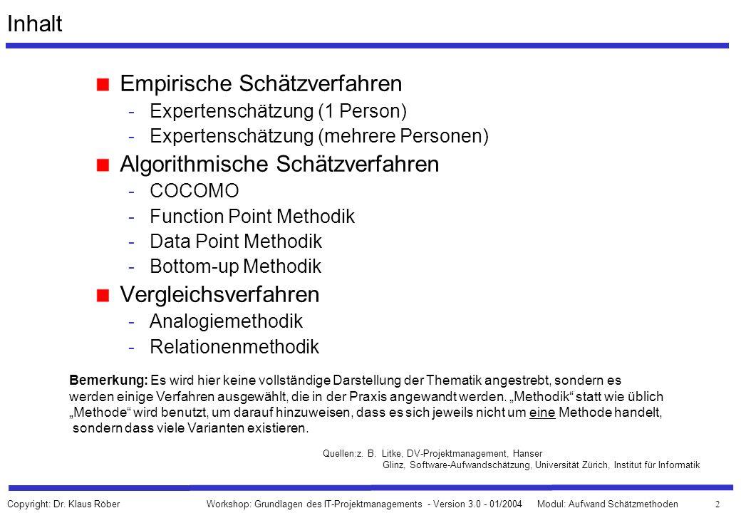 63 Workshop: Grundlagen des IT-Projektmanagements - Version 3.0 - 01/2004Modul: Aufwand Schätzmethoden Copyright: Dr.