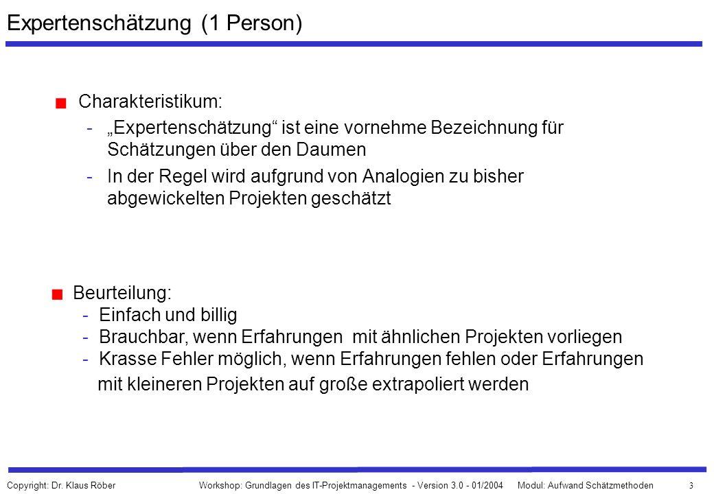 74 Workshop: Grundlagen des IT-Projektmanagements - Version 3.0 - 01/2004Modul: Aufwand Schätzmethoden Copyright: Dr.