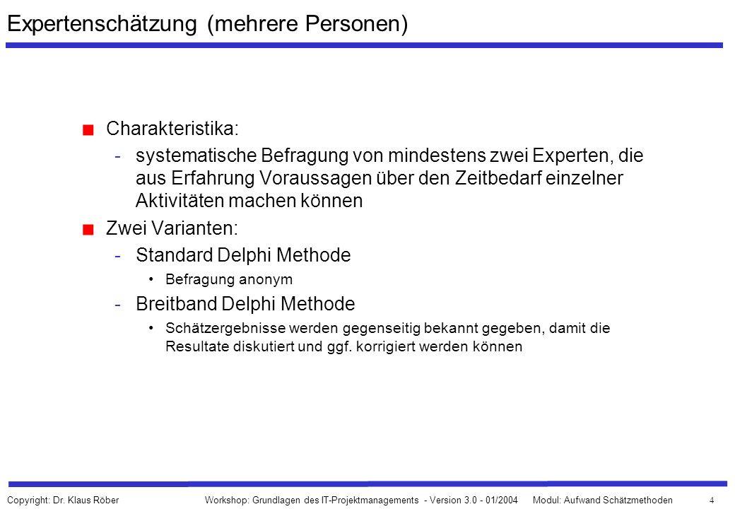 65 Workshop: Grundlagen des IT-Projektmanagements - Version 3.0 - 01/2004Modul: Aufwand Schätzmethoden Copyright: Dr.