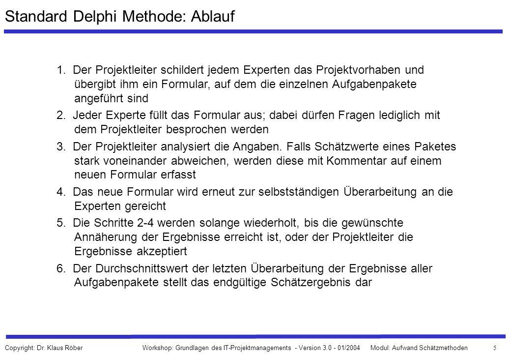 66 Workshop: Grundlagen des IT-Projektmanagements - Version 3.0 - 01/2004Modul: Aufwand Schätzmethoden Copyright: Dr.