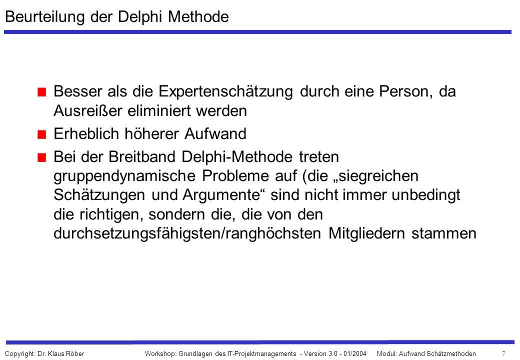 38 Workshop: Grundlagen des IT-Projektmanagements - Version 3.0 - 01/2004Modul: Aufwand Schätzmethoden Copyright: Dr.