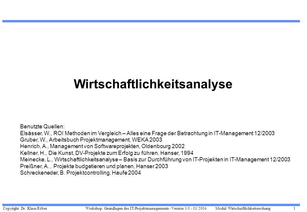 Copyright: Dr. Klaus Röber 1 Workshop: Grundlagen des IT-Projektmanagements - Version 3.0 - 01/2004Modul: Wirtschaftlichkeitsrechung Wirtschaftlichkei