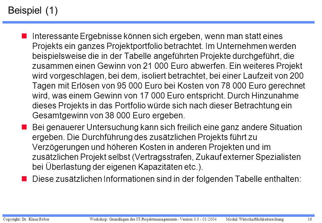 Copyright: Dr. Klaus Röber 16 Workshop: Grundlagen des IT-Projektmanagements - Version 3.0 - 01/2004Modul: Wirtschaftlichkeitsrechung Beispiel (1) Int