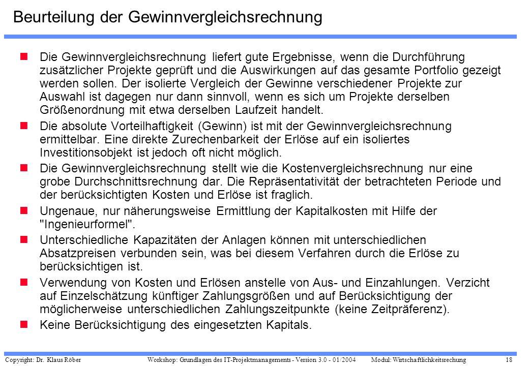 Copyright: Dr. Klaus Röber 18 Workshop: Grundlagen des IT-Projektmanagements - Version 3.0 - 01/2004Modul: Wirtschaftlichkeitsrechung Beurteilung der