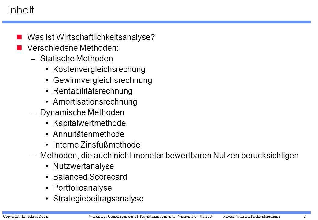 Copyright: Dr. Klaus Röber 2 Workshop: Grundlagen des IT-Projektmanagements - Version 3.0 - 01/2004Modul: Wirtschaftlichkeitsrechung Inhalt Was ist Wi