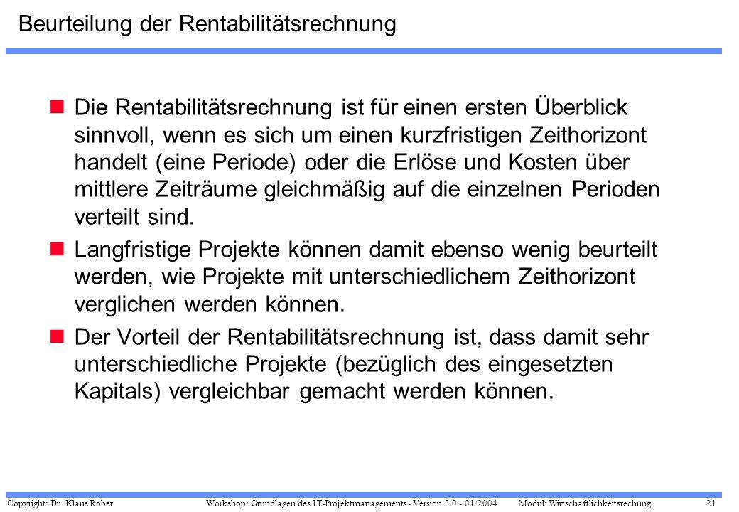 Copyright: Dr. Klaus Röber 21 Workshop: Grundlagen des IT-Projektmanagements - Version 3.0 - 01/2004Modul: Wirtschaftlichkeitsrechung Beurteilung der