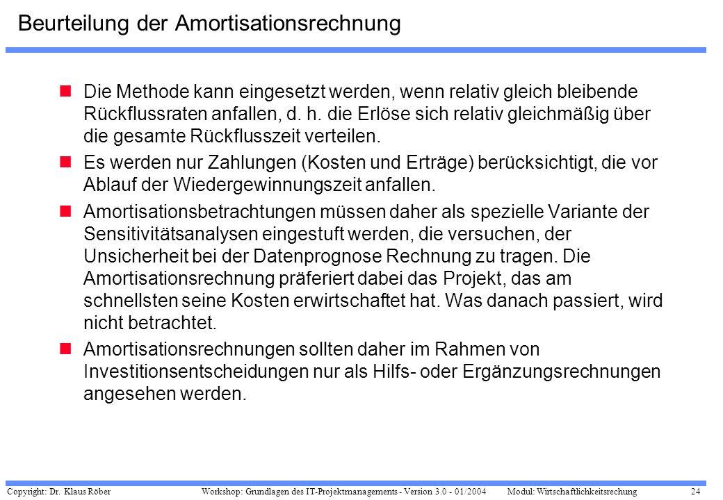 Copyright: Dr. Klaus Röber 24 Workshop: Grundlagen des IT-Projektmanagements - Version 3.0 - 01/2004Modul: Wirtschaftlichkeitsrechung Beurteilung der