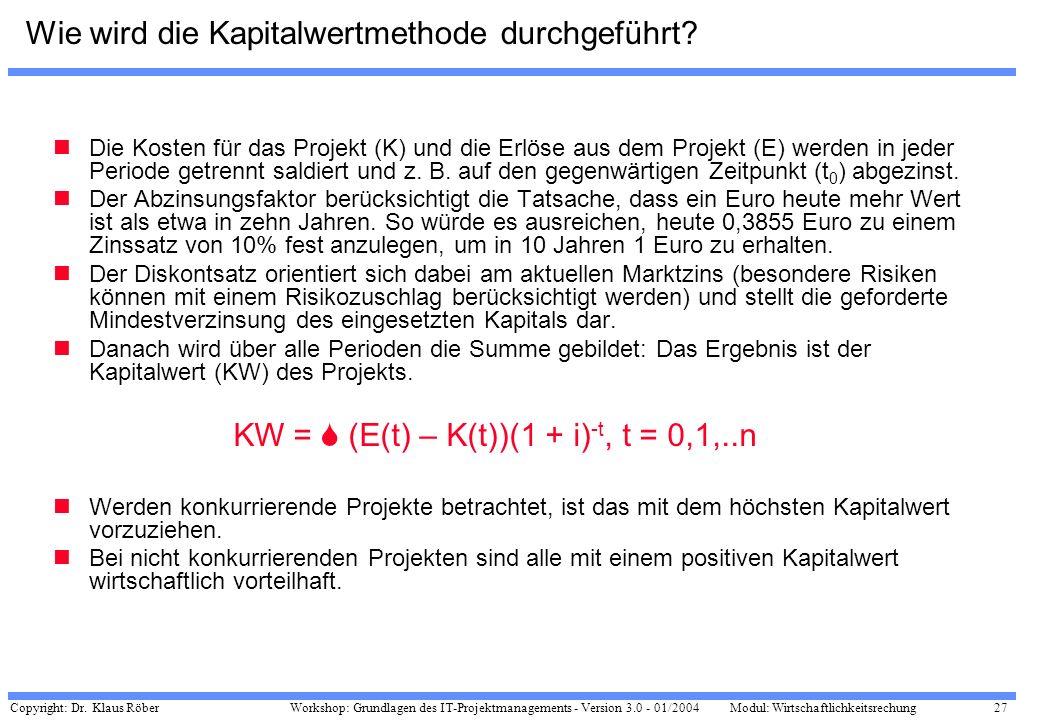 Copyright: Dr. Klaus Röber 27 Workshop: Grundlagen des IT-Projektmanagements - Version 3.0 - 01/2004Modul: Wirtschaftlichkeitsrechung Wie wird die Kap