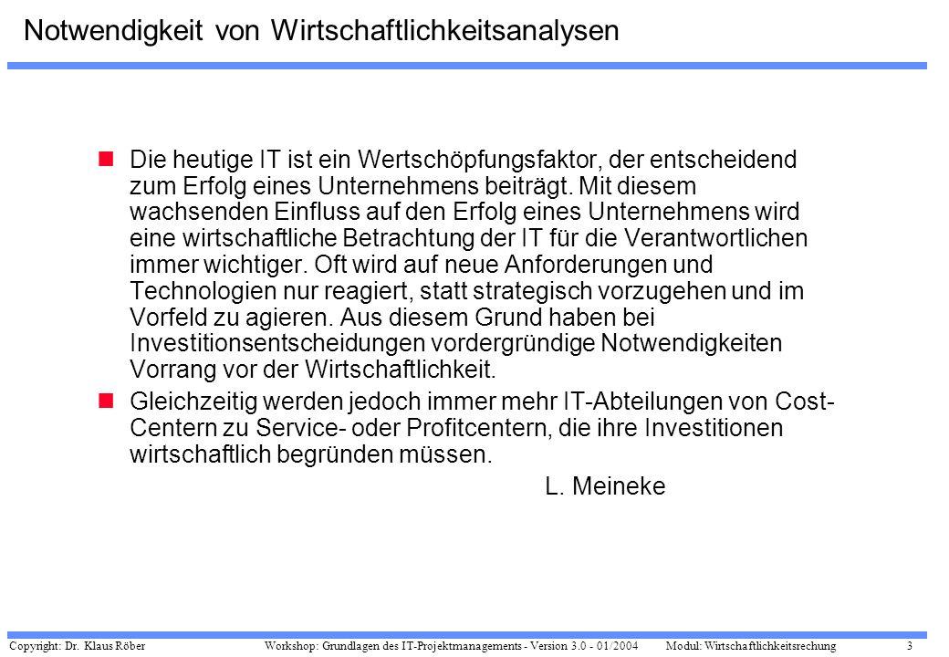 Copyright: Dr. Klaus Röber 3 Workshop: Grundlagen des IT-Projektmanagements - Version 3.0 - 01/2004Modul: Wirtschaftlichkeitsrechung Notwendigkeit von