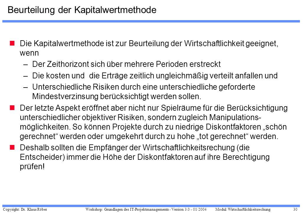 Copyright: Dr. Klaus Röber 30 Workshop: Grundlagen des IT-Projektmanagements - Version 3.0 - 01/2004Modul: Wirtschaftlichkeitsrechung Beurteilung der