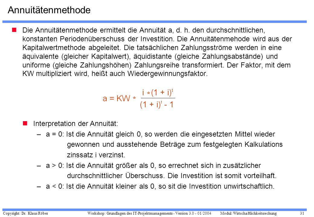 Copyright: Dr. Klaus Röber 31 Workshop: Grundlagen des IT-Projektmanagements - Version 3.0 - 01/2004Modul: Wirtschaftlichkeitsrechung Annuitätenmethod