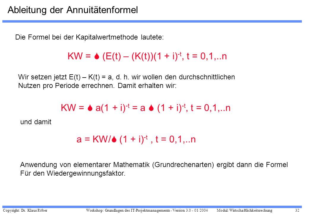 Copyright: Dr. Klaus Röber 32 Workshop: Grundlagen des IT-Projektmanagements - Version 3.0 - 01/2004Modul: Wirtschaftlichkeitsrechung Ableitung der An