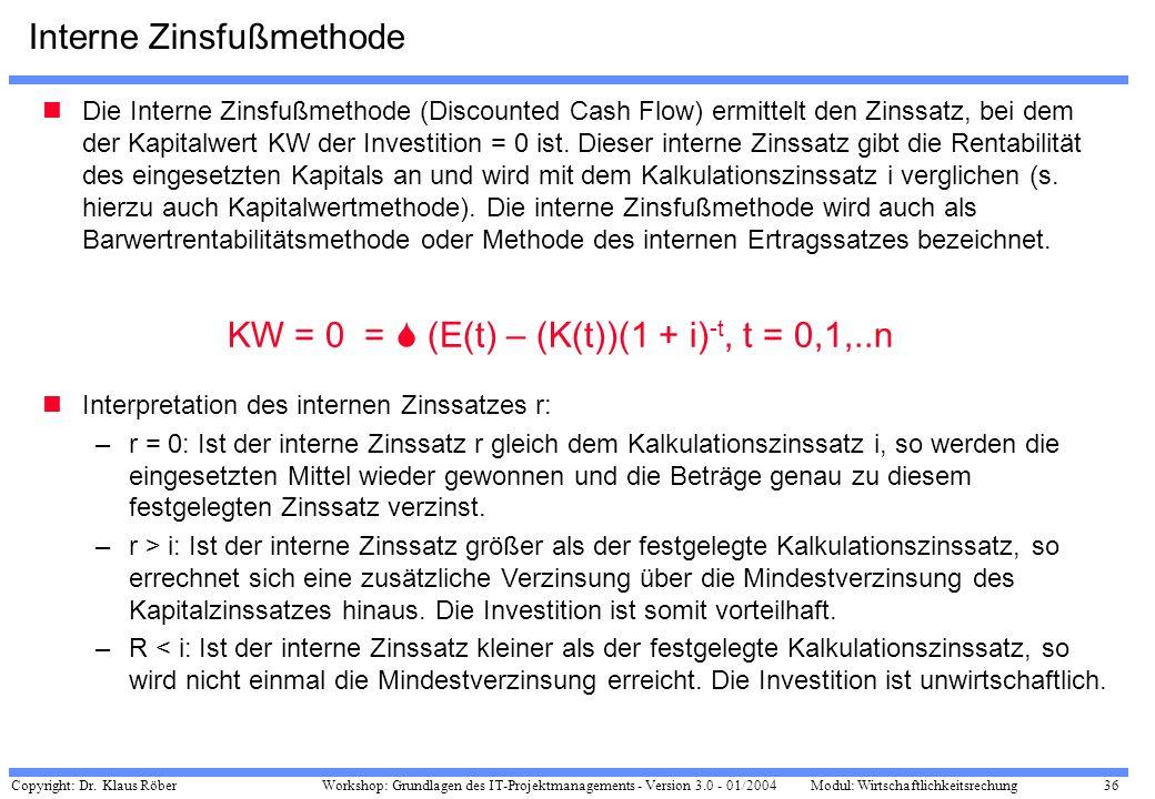 Copyright: Dr. Klaus Röber 36 Workshop: Grundlagen des IT-Projektmanagements - Version 3.0 - 01/2004Modul: Wirtschaftlichkeitsrechung Interne Zinsfußm
