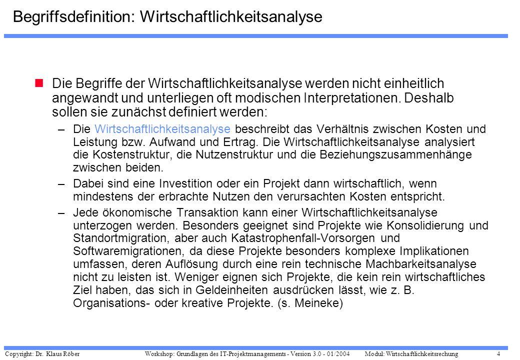 Copyright: Dr. Klaus Röber 4 Workshop: Grundlagen des IT-Projektmanagements - Version 3.0 - 01/2004Modul: Wirtschaftlichkeitsrechung Begriffsdefinitio