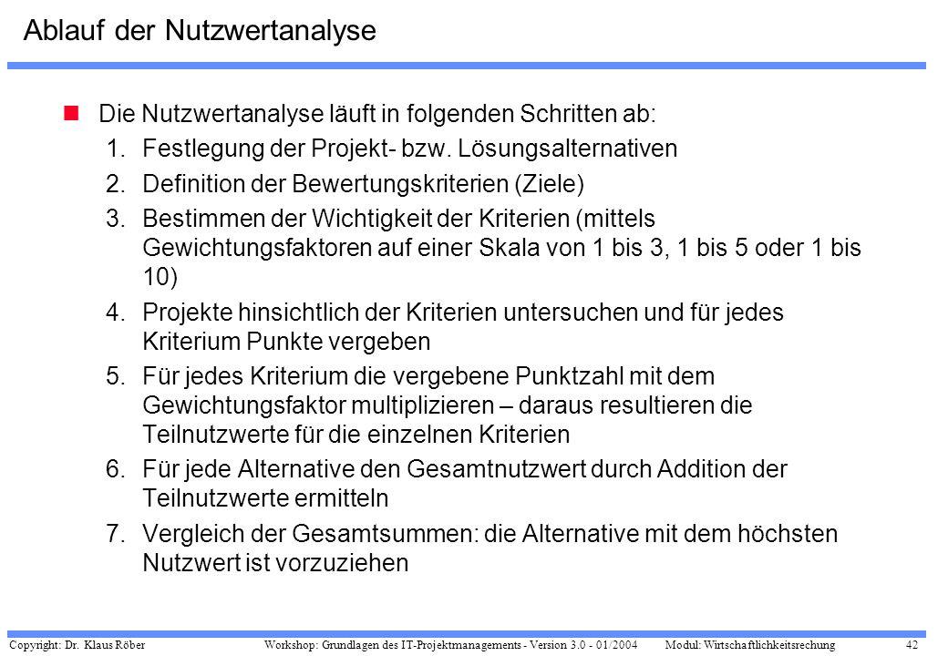 Copyright: Dr. Klaus Röber 42 Workshop: Grundlagen des IT-Projektmanagements - Version 3.0 - 01/2004Modul: Wirtschaftlichkeitsrechung Ablauf der Nutzw