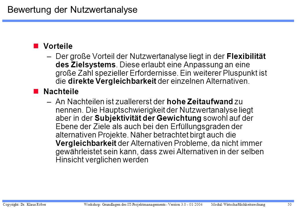 Copyright: Dr. Klaus Röber 50 Workshop: Grundlagen des IT-Projektmanagements - Version 3.0 - 01/2004Modul: Wirtschaftlichkeitsrechung Bewertung der Nu